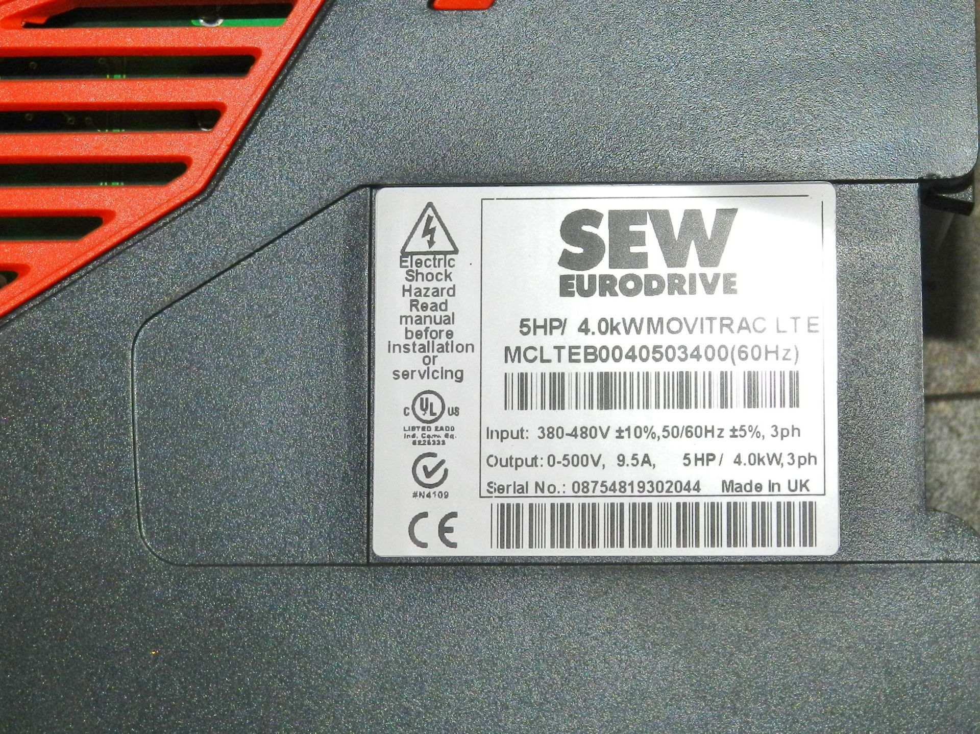 Lot 62 - SEW Eurodrive MOVITRAC 5 HP Drive