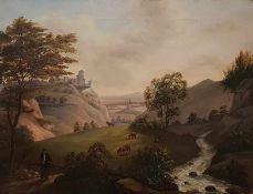 Landschaftsgemälde des 19 Jahrhunderts ,Öl auf Leinwand, 2 Hälfte 19 Jh., unsigniert, Maße: 45x59,