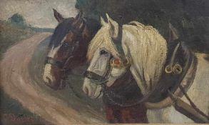Carl Theodor Dobler (1873-1954 Winnendan),Pferdefurhrwerk, Öl auf Leinwand, gerahmt, Signiert: C.