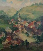 Dorfansicht, Öl auf Holfaserplatte, Signiert: Fritz Bouref, 1939, gerahmt. 60x70cm