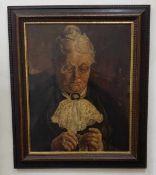 Ältere Dame beim Stricken, Öl auf Leinwand, Signatur unleserlich, gerahmt, 48x59,5cm, 1.Hälfte 20.