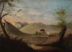 Landschaftsgemälde des 19 Jahrhunderts, Öl auf Leinwand, 2 Hälfte 19 Jh., signiert Kriesch, Maße: