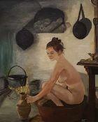 Bolsius Stan , badende Frau in einer Bauernküche, Öl auf Leinwand, signiert rechts unten,gerahmt ,