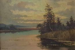 """Karel VOBORIL (1893-1941), Landschaftsgemälde """"am Seeufer"""" Öl auf Malkarton ,signiert: K. Voboril,"""