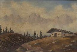 Gemälde Berglandschaft mit Bauernhof signiert Aufschneiter 1999, Öl auf Karton , Maße 45x32cm,