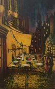 Kopie nach Vincent van Gogh, Cafe Terasse am Abend, Ölfarbe auf Faserplatte, Maße: 78x49,5cm,
