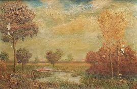 Herbstliche Landschaft, Öl auf Leinwand, Monogrammiert rechts unten, teilw. beschädigt. ,gerahmt:
