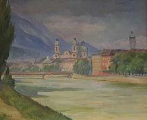Josef Prantl (20 März 1901 - 9 März 1992) , Blick vom Innufer auf die Innsbrucker Altstadt, Öl auf