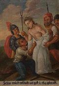 """Kreuzwegstation """"Jesus wird seiner Kleider beraubt"""", Öl auf Leinwand , 19 Jh., Maße: 68x47cm"""