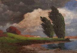 Hermann Traugott Rüdisühli (10.06.1864-27.01.1944) , Landschaftsgemälde mit Fluss, Öl auf Holz,