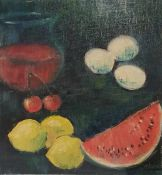 Früchtestillleben, Öl auf Leinwand, links unten signiert Francis 1967, nachträglich auf