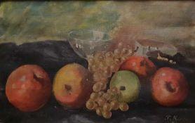 Früchtestillleben, Öl auf Leinwand auf Malkarton aufgelegt, singiert F. Mimra 1920, Maße: 48x30