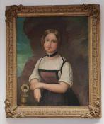 Künstler aus der 2. Hälfte des 19. Jahrhunderts,Junge Dame mit Dirndl am Brunnen, Öl auf Leinwand,