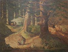 Waldbewohner, Öl auf Leinwand, 19.Jhd, 41x32cm , unsigniert, Altersspuren,