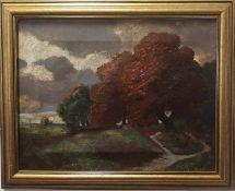 Gemälde Herbstlandschaft , Öl auf Leinwand mit Rahmen signiert H.Darnaut Größe ohne Rahmen: 40x31,