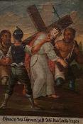 """Kreuzwegstation """" Simon von Cyrene hilft Jesus das Kreuz tragen"""", Öl auf Leinwand, 19 Jh, Maße:"""