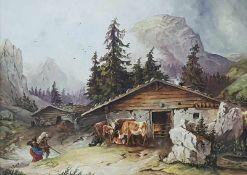 Seeauer Alpenhütte um 1850, Öl auf Malplatte, signiert: O. Corazza, cop. 1976,gerahmt, 56x41cm