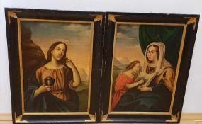 Paar Heiligengemälde, 19.Jhd, Öl auf Papier auf Leinen aufgelegt , je 31,5x46cm, gerahmt,