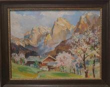 """Gemälde """"aus dem Kaiser Totenkirchl"""" sign. Josef Hirtl 1935, Öl auf Karton Gerahmt"""