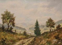 Landschaftsgemälde, Öl auf Leinwand , singiert , 20 Hälfte 20 Jh., Maße: 40x30 cm, gerahmt