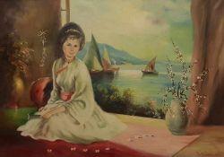 G. Müller, Bildnis einer Dame in Traditioneller japanischer Tracht, Öl auf Leinwand, signiert G.