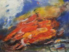 """""""Feuersturm"""" Öl auf Leinwand, unsigniert, 60x79,5 cm, ungerahmt."""
