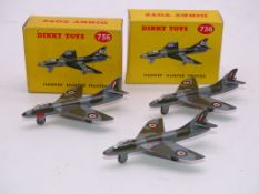 A GROUP OF VINTAGE DINKY AIRCRAFT TO INCLUDE: 3 X 736 'HAWKER HUNTER', 2 boxed - VG in G/VG boxes