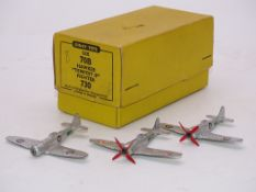 A GROUP OF DINKY AIRCRAFT TO INCLUDE: 3 X 70B/730 'HAWKER TEMPEST II' (ONE WITH PROPELLOR MISSING)