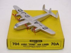 DINKY DIECAST AIRCRAFT: A 70a/704 'AVRO YORK AIRLINER' - G/VG IN G BOX