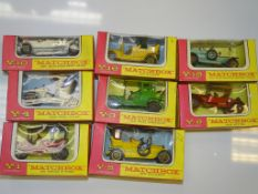 A GROUP OF EARLY MATCHBOX MODELS OF YESTERYEAR IN PINK/YELLOW boxes to include Y1, Y3, Y4, Y5, Y8,
