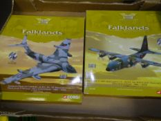 CORGI AVIATION ARCHIVE - A PAIR OF 1:144 SCALE MODEL AIRPLANES to include 2 x FALKLANDS 20TH