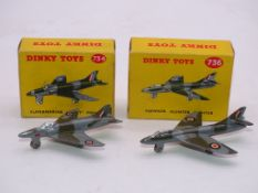 A PAIR OF VINTAGE DINKY AIRCRAFT TO INCLUDE: A 734 'SUPERMARINE SWIFT' AND A 736 'HAWKER HUNTER' -