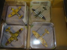 A GROUP OF CORGI AVIATION ARCHIVE 1:72 SCALE MODEL FIGHTER PLANES IN THE WWII LEGENDS SERIES as