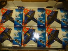 A GROUP OF CORGI AVIATION ARCHIVE 1:72 SCALE MODEL FIGHTER PLANES FROM THE BATTLE OF BRITAIN
