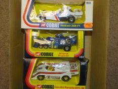 A GROUP OF CORGI FORMULA 1 and LE MANS RACING CARS 160 HESKETH 308 F1, 161 ELF TYRRELL PROJECT 34