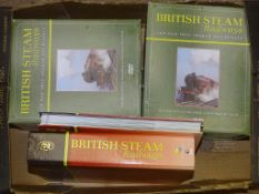 A QUANTITY OF BRITISH STEAM RAILWAYS DVDS AND BOUND MAGAZINES TOGETHER WITH ACCOMPANYING DRAWERS -