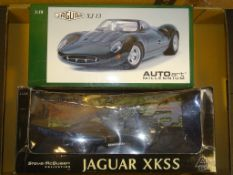 A PAIR OF AUTOART 1:18 SCALE DIECAST MODEL CARS to include a JAGUAR XJ13 (E in VG box) and a