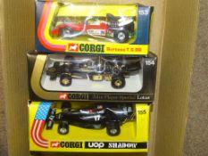 A GROUP OF CORGI FORMULA 1 RACING CARS to includes 153 SURTEES T.S. 9B, 154 LOTUS JOHN PLAYER