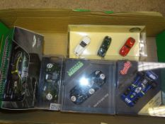 A GROUP OF RACING RELATED MODEL CARS as lotted to include an ASTON MARTIN DBR9 - VG in G/VG