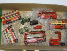 A QUANTITY OF KIT BUILT WHITE METAL BUSES and COMMERCIAL VEHICLES, all LONDON TRANSPORT RELATED -