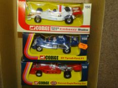 A GROUP OF CORGI FORMULA 1 RACING CARS to include 156 GRAHAM HILL'S EMBASSY SHADOW, 158 ELF