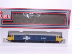 OO GAUGE - A Lima Class 50 diesel locomotive, 50043 Eagle, in Large Logo blue livery. VG in G box