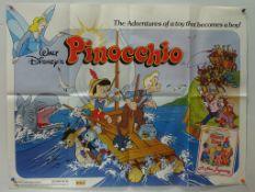 """PINOCCHIO (1980's) - British UK Quad - Classic WALT DISNEY animated adventure - 30"""" x 40"""" (76 x"""
