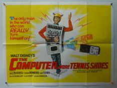 "THE COMPUTER WORE TENNIS SHOES (1969)- UK QUAD FILM POSTER - 30"" x 40"" (76 x 101.5 cm) - Folded,"