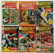 MONSTERS ON THE PROWL LOT #9, 10, 11, 12, 15, 16 (6 in Lot) - (1970 / 1972 - MARVEL - Pence Copy -
