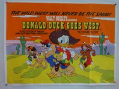 DONALD DUCK GOES WEST (1977 Release) - UK Quad Film Poster - Classic WALT DISNEY animated