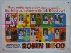ROBIN HOOD (1973) - British UK Quad - Style B Artwork promoting the voices behind the characters for