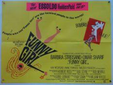 FUNNY GIRL (1968) - British UK Quad Film Poster - Oscar winning biopic of Fanny Brice starring