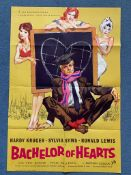 """BACHELOR OF HEARTS (1958) - British One Sheet film poster - Hardy Kruger - Sylvia Syms - 27"""" x"""