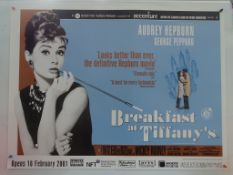 BREAKFAST AT TIFFANY'S (2001 BFI release) - UK Quad Film Poster - AUDREY HEPBURN in her signature